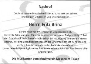 Nachruf Fritz Brinz